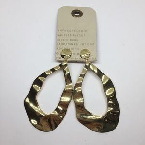 NWT Anthropologie Gold Wave Drop Earrings